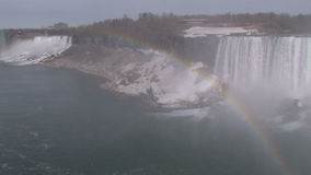 Rainbow in corner on niagara falls. Video of rainbow in corner on niagara falls stock video