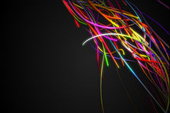 Rainbow Corner Strands Line Glow Dark Background Royalty Free Stock Photos