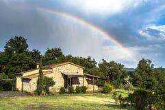 Rainbow cottage in Tuscany, Italy Stock Image