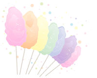 Rainbow cotton candy. An illustration of cotton candy in rainbow colors isolated on a white background with space for text Royalty Free Stock Images