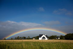 Rainbow in the Countryside. Full Rainbow View in the Country Stock Photos