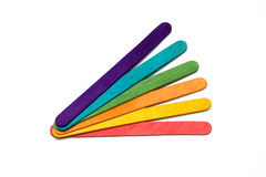 Rainbow craft sticks fanned Stock Photo