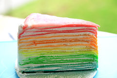 Rainbow crape cake Stock Photography