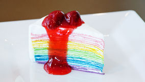 Rainbow crape cake Stock Photo