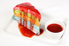 Rainbow crape cake Stock Photo