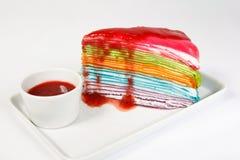 Rainbow crape cake Royalty Free Stock Photography