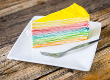 Rainbow crape cake Stock Image