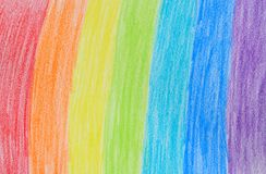 Rainbow crayon drawing Royalty Free Stock Photo