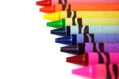 Rainbow Crayons. Rainbow colours of crayons for school stock photos