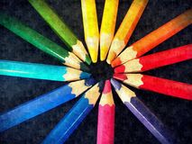 Rainbow crayons round painting stock images