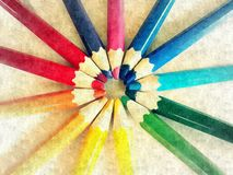 Rainbow crayons round painting light
