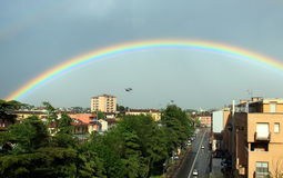Rainbow in Cremona, Italy. The picture shows a raimbow after a storm in Cremona, northern Italy Stock Photography
