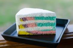 Rainbow crepe cake royalty free stock photo