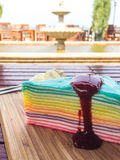 Rainbow crepe cake with blueberry jam Royalty Free Stock Photography