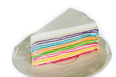 Rainbow crepe cake Stock Image
