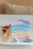 Rainbow crepe cake Royalty Free Stock Images