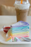 Rainbow crepe cake Stock Images