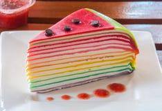 Rainbow crepe cake Royalty Free Stock Images