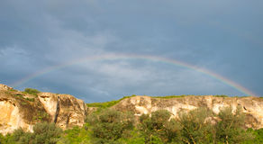 Rainbow in Crimea Ukraine. Rainbow in and blue sky in Crimea Ukraine royalty free stock images