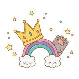 Rainbow with crown and cat paw. Icon cartoon vector illustration graphic design vector illustration
