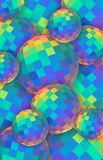 Rainbow crystal balls 3d background. Blue yellow green red iridescent glass spheres. Abstract creative vertical banner. vector illustration