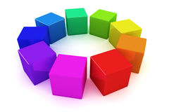 Rainbow cubes Stock Photos