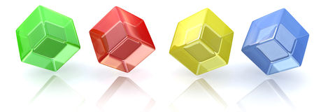 Rainbow cubes in a row Stock Images