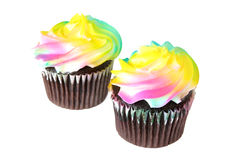 Chocolate Cupcakes with Rainbow Frosting Royalty Free Stock Photo