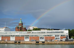 Rainbow and cupolas Stock Image