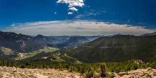 Rainbow Curve Overlook in Rocky Mountain National Park. Trail Ridge Road is the name for a stretch of U.S. Highway 34 that traverses Rocky Mountain National Park stock image