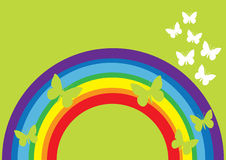 Rainbow and cute butterfly Stock Photo