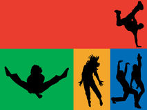 Rainbow dance. A collection of men and women of multi coloured backgrounds Stock Photography