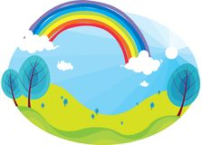 Rainbow and dark sky Royalty Free Stock Images