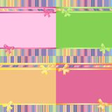 Rainbow decorative striped backgrounds set. Set of  rainbow decorative striped backgrounds with ribbon and bow Stock Images