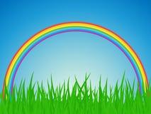 Rainbow del wiyh di paesaggio di estate. Fotografie Stock Libere da Diritti