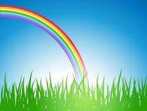 Rainbow del wiyh di paesaggio di estate. Fotografia Stock Libera da Diritti