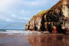Rainbow dell'acquazzone di estate della spiaggia di Ballybunion Fotografia Stock Libera da Diritti