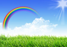 Rainbow dell'erba del cielo Immagini Stock Libere da Diritti