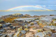 Rainbow della campagna dell'Irlanda Fotografia Stock Libera da Diritti