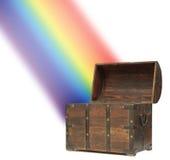 Rainbow della cassa di tesoro dei soldi Immagine Stock