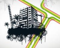 Rainbow della città della palma di estate Immagini Stock