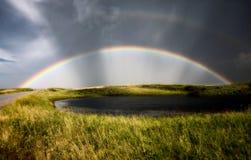 Rainbow della tempesta del Saskatchewan Immagini Stock Libere da Diritti