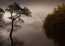 Rainbow at Derwent Water England. Beautiful rainbow at Derwent Water in Cumbia England Royalty Free Stock Photos