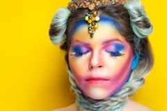 Rainbow design art make up stock image