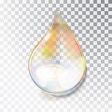 Rainbow dew drop. A drop of oil. Transparent drop of overflow in the sun. Izoltrovannaya drop on a transparent. Background. Blocs of the sun in the water stock illustration