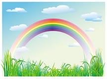 Rainbow di cielo blu Immagini Stock Libere da Diritti