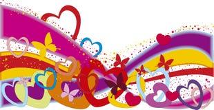 Rainbow di giorno del biglietto di S. Valentino Immagine Stock