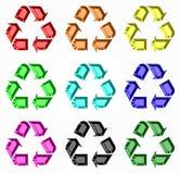 Rainbow di riciclaggio dei simboli Fotografie Stock Libere da Diritti