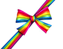 Rainbow Diagonal Gift Ribbon Bow Royalty Free Stock Photography