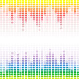 Rainbow digital equalizers on white background Stock Image